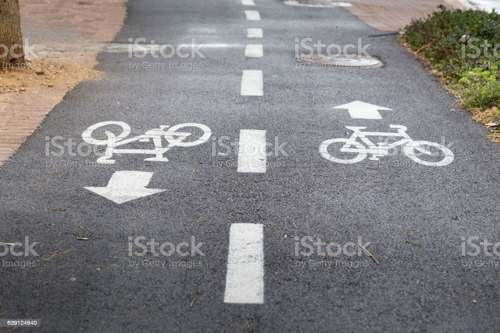 Bike Path with Icons on the ground stock photo