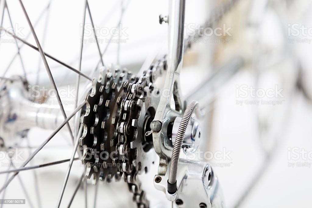 bike rear wheel detail isolated on white background stock photo