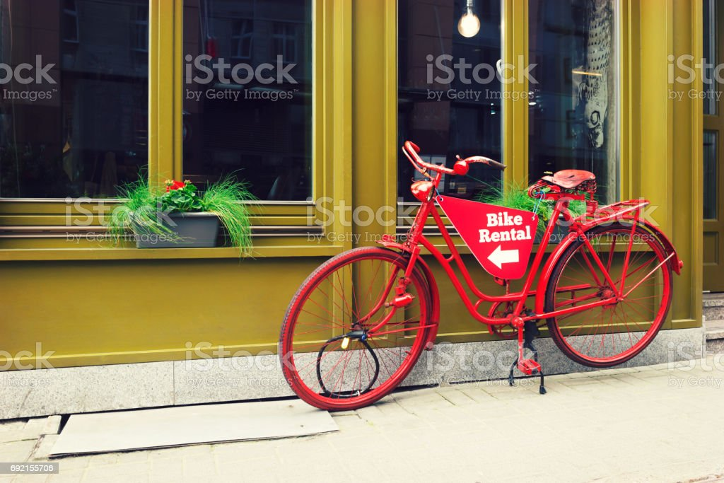 Bike rental service stock photo