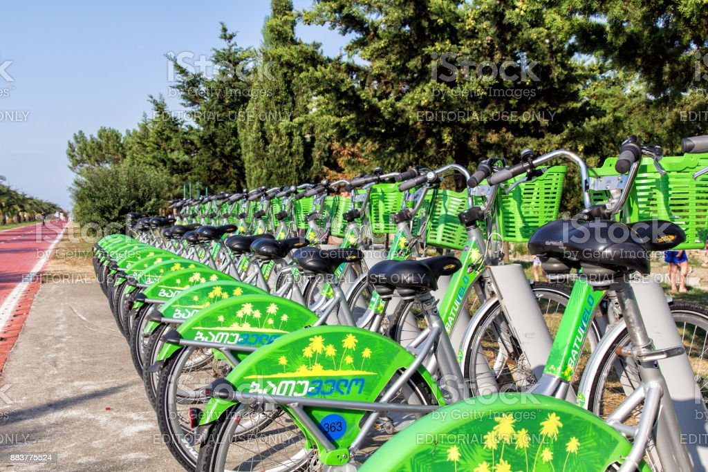 Bike rental system in Batumi. The system is created by the municipality of Batumi stock photo
