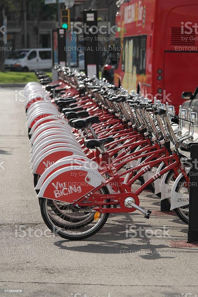 Bike Rental Viu Bicing In Barcelona Stock Photo - Download