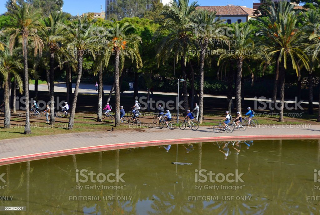 Bike ride under Puente del Mar. Valencia, Spain stock photo