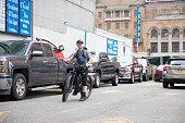New York August 18 2018:Bike riders commuting in New York