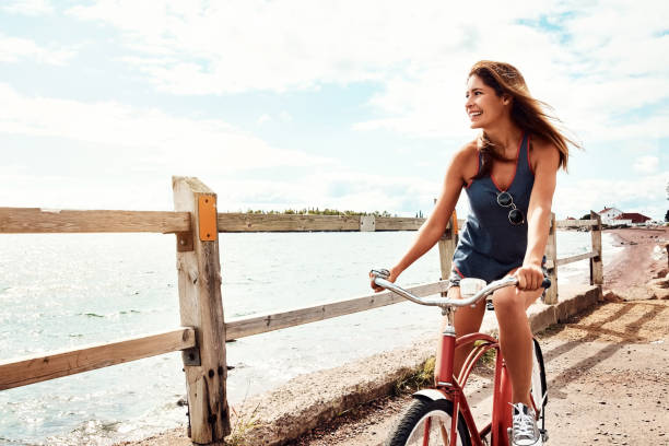 Bike rides are splendid by the sea stock photo