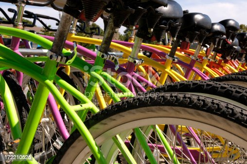 array of colorful bicycles