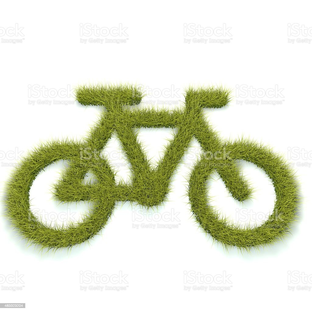 Bike shape made from grass stock photo