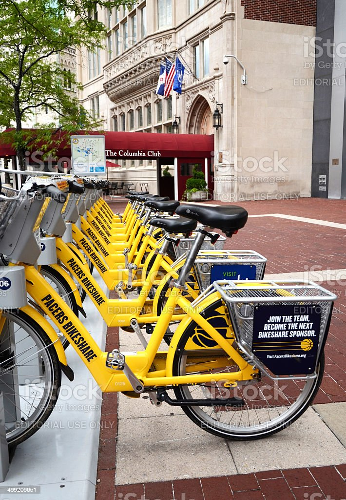Bike Share Indianapolis long view stock photo