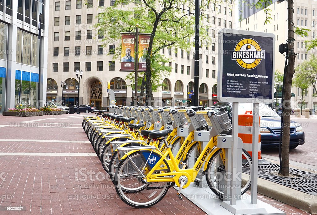 Bike Share Indianapolis street view with sign stock photo
