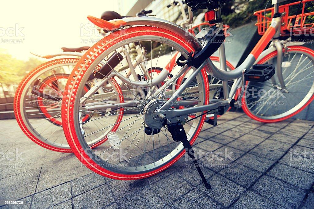 bike sharing in china stock photo