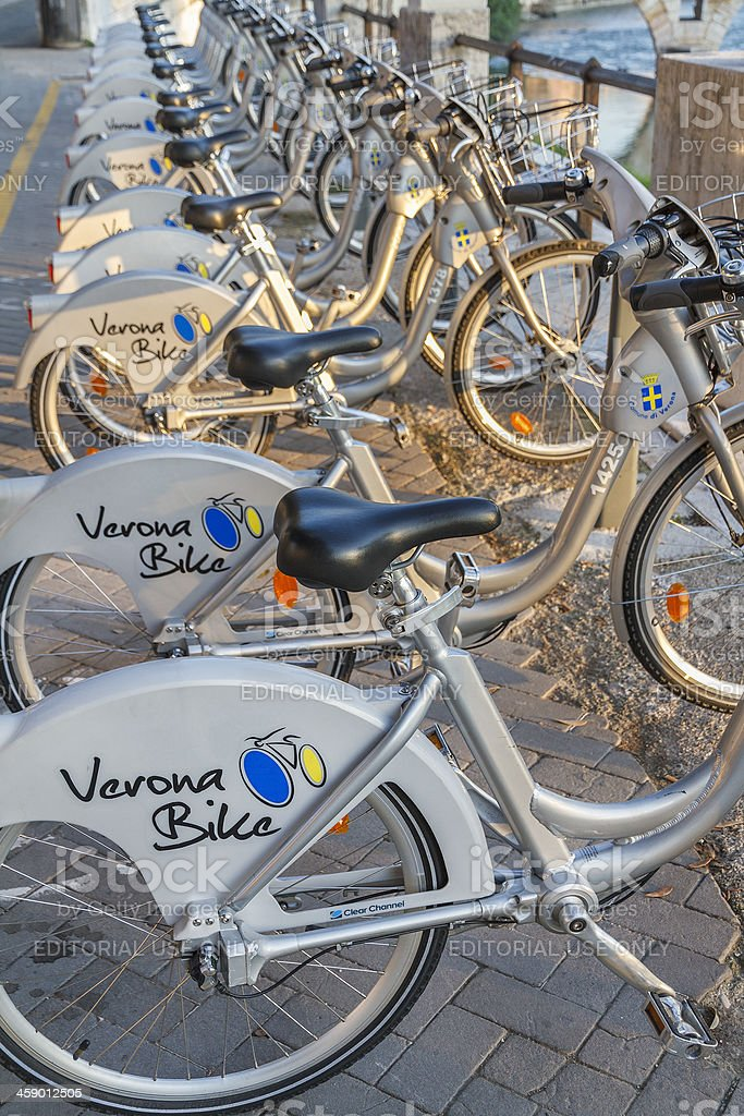 Bike Sharing in Verona royalty-free stock photo