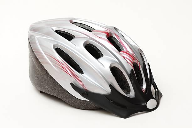 Bike silver helmet stock photo