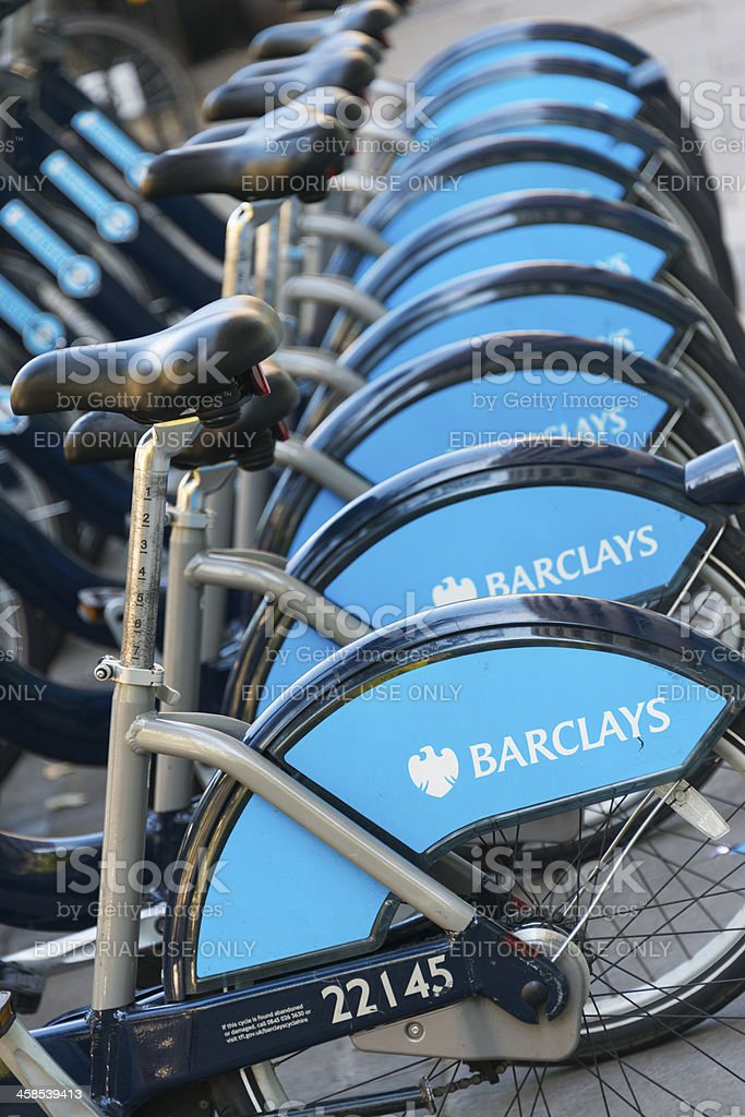 Bike station of Barclays Cycle Hire in London stock photo