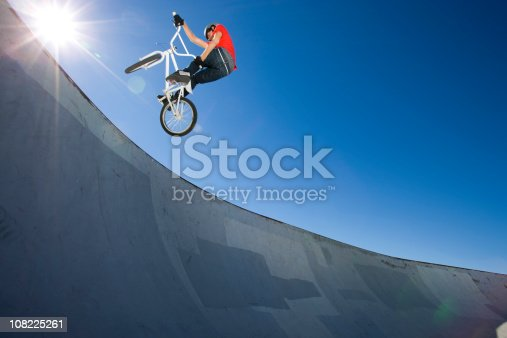 BMX Bike Stunt at Skateboard Park