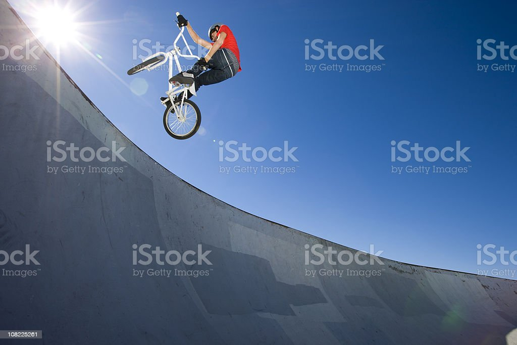 BMX Bike Stunt at Skateboard Park stock photo