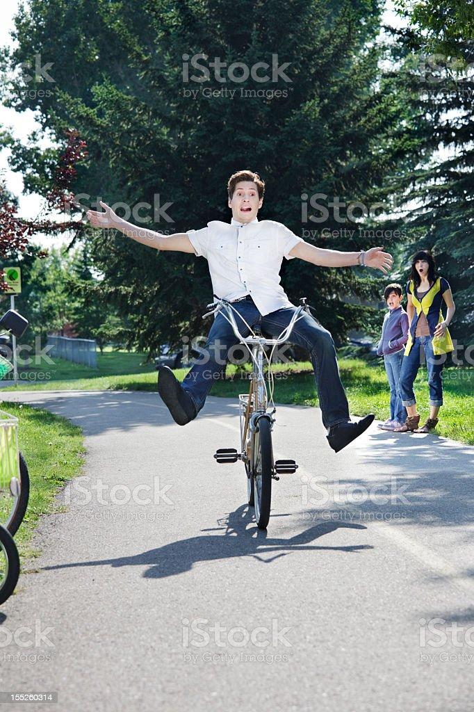 Bike stunt gone wrong stock photo