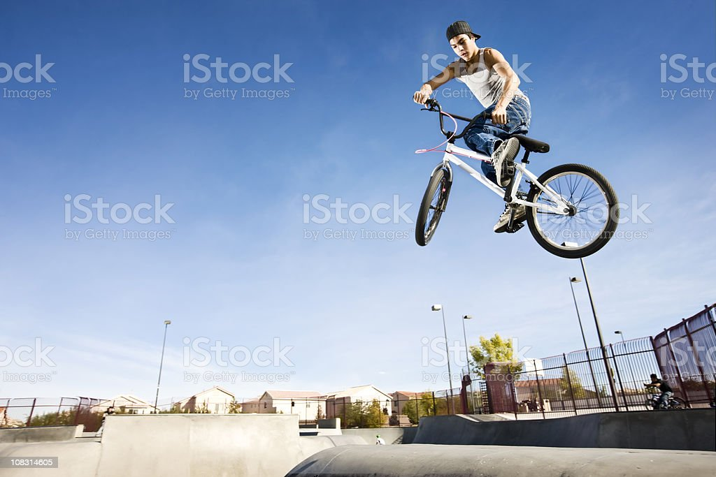 BMX Bike Stunt-Tail Whip stock photo