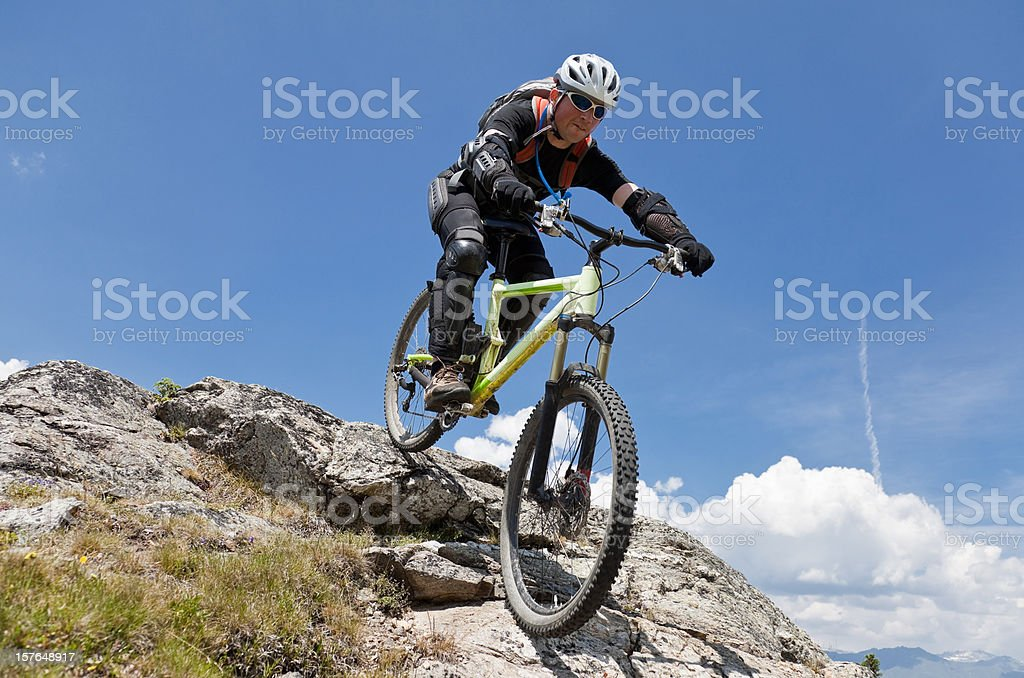 Bike the rock in South Tyrol stock photo
