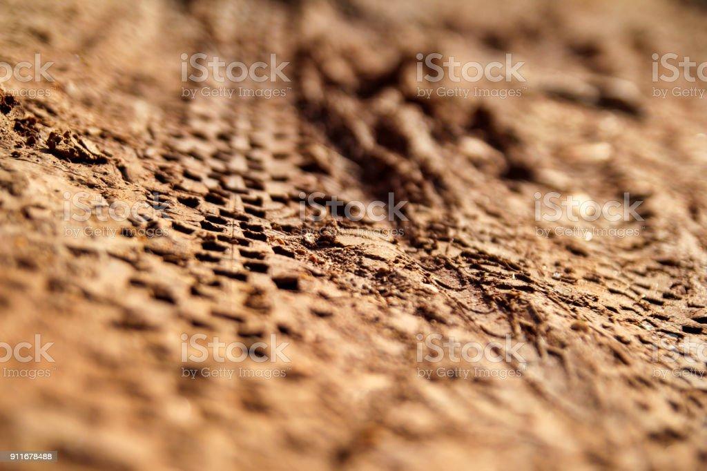 Marcas de pneu de bicicleta na realeza trilha enlameada. Marcas de pneu na estrada enlameada molhada, abstrato, material de textura. Pneu faixa na sujeira de areia ou lama, Tom retrô, Tom grunge, dirigir na areia, fora da pista de estrada. - foto de acervo
