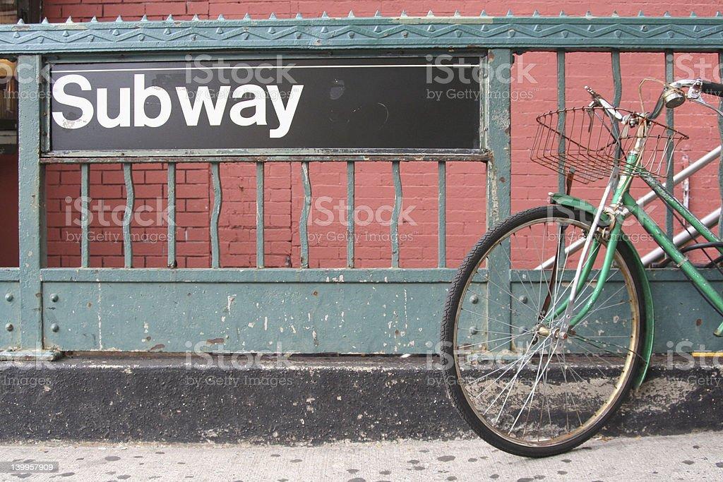 Bike to the subway stock photo
