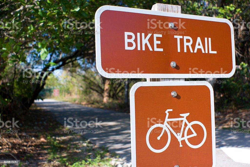 Bike Trail Sign stock photo