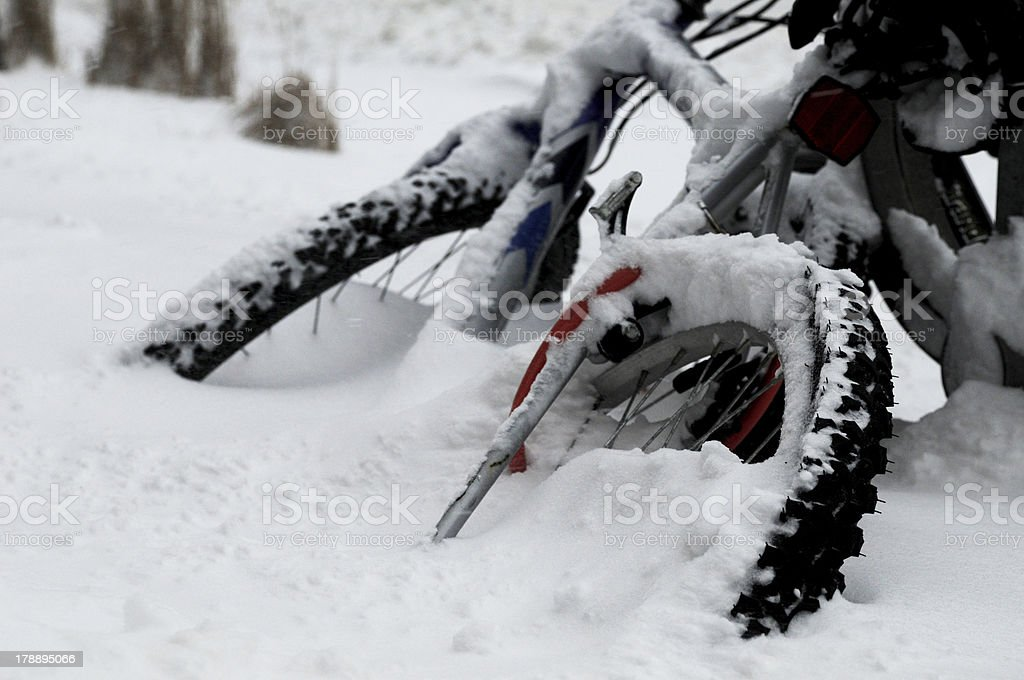 bike under snow royalty-free stock photo