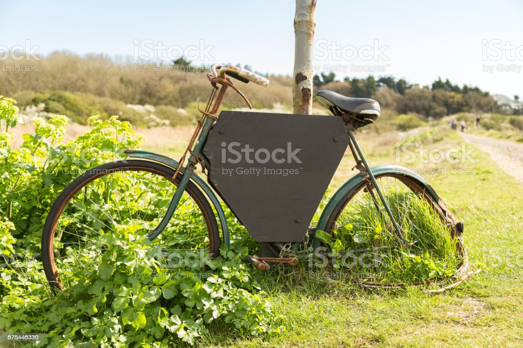Bike with black board stock photo