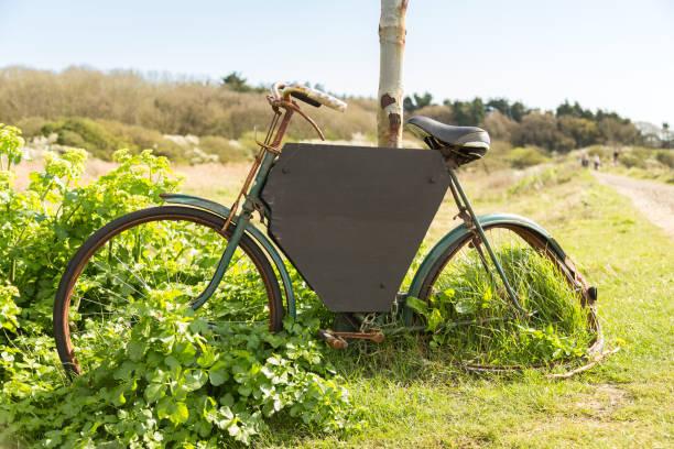 Bike with black board stock photo