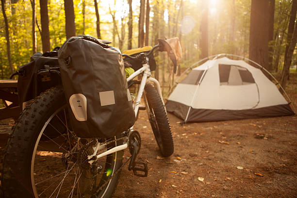 Bikepacking set up at a campsite. stock photo