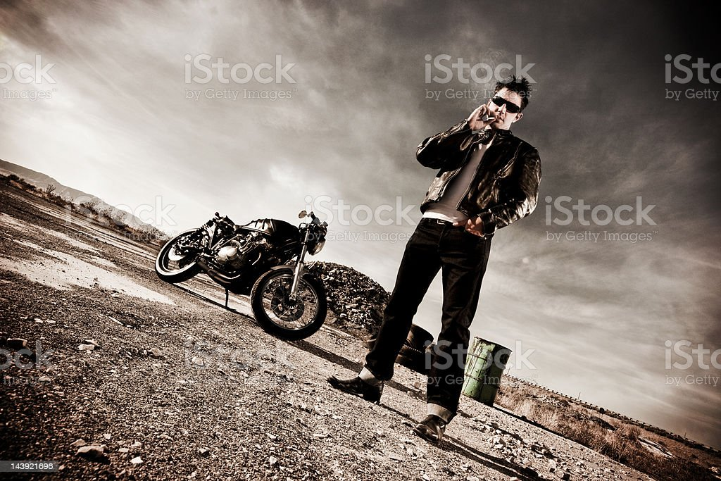 Biker and Cafe Racer royalty-free stock photo