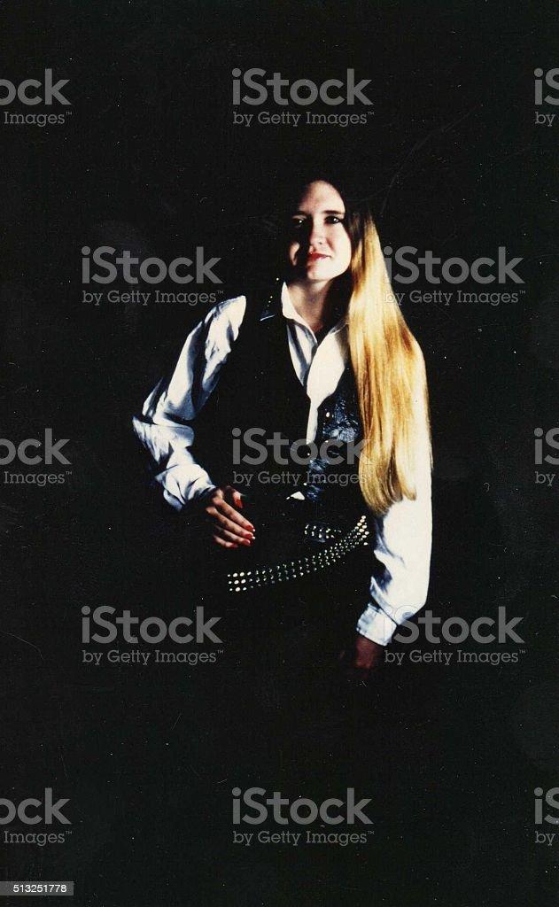 biker chick stock photo