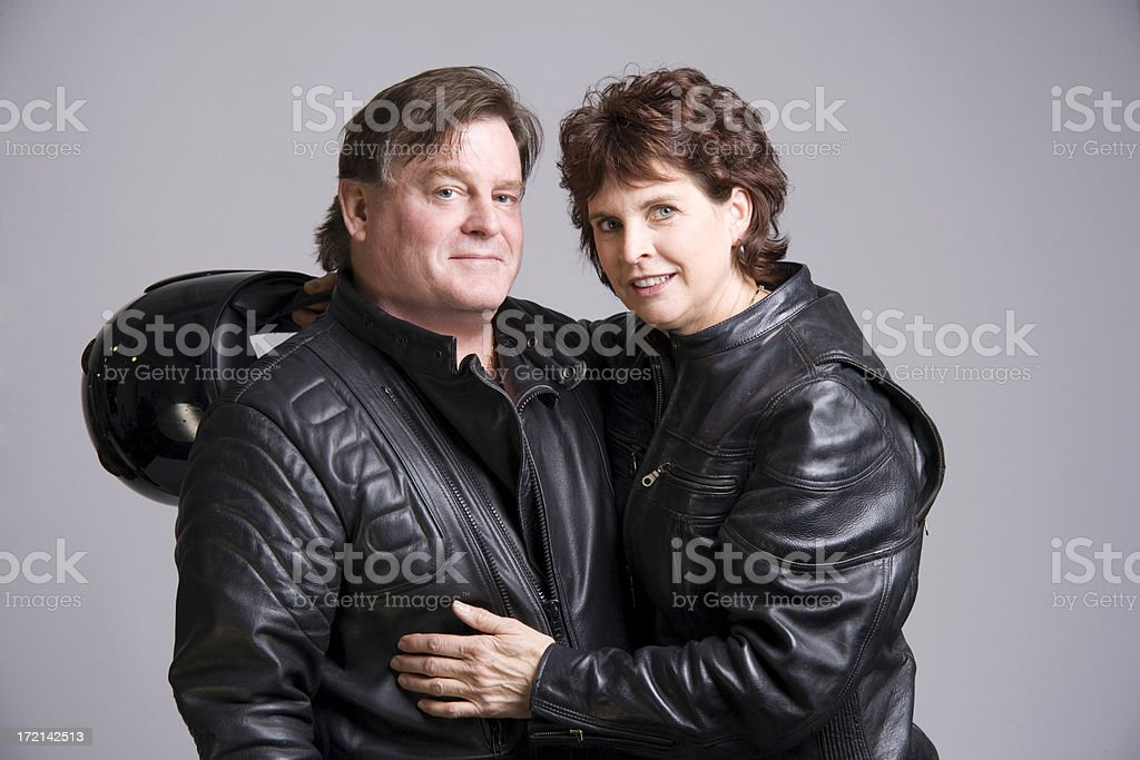 Biker couple stock photo