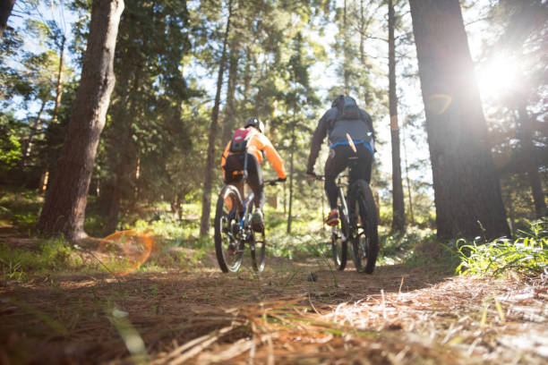 biker couple riding mountain bike in the forest - mountain biking stock photos and pictures