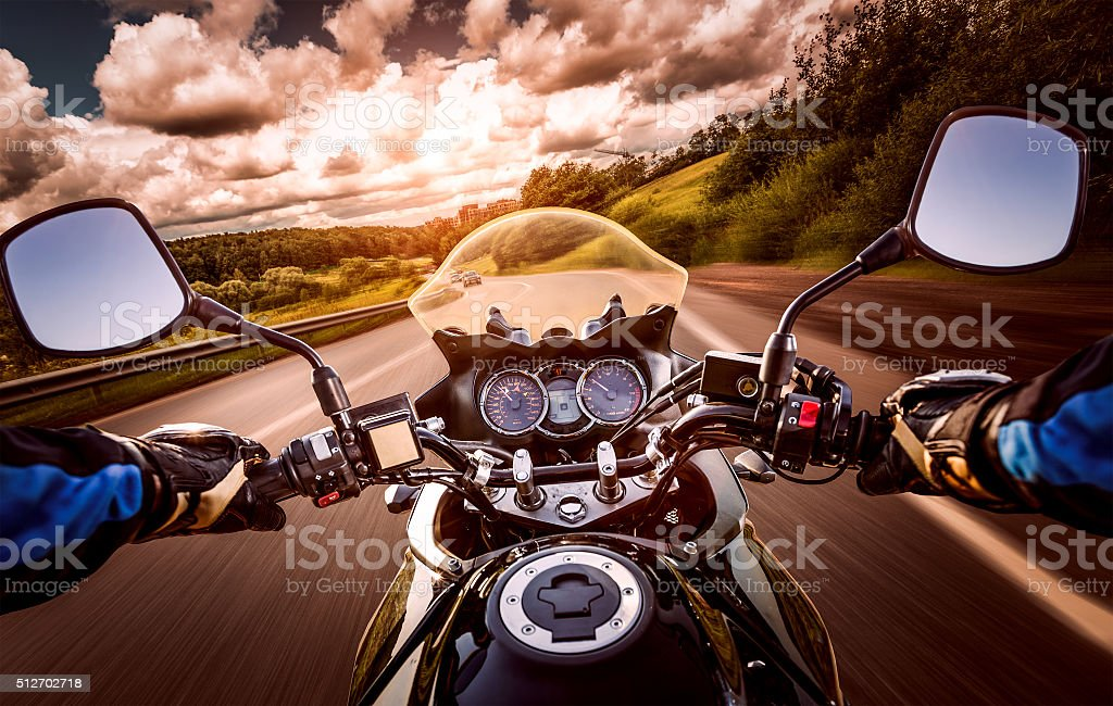 Biker First-person view stock photo