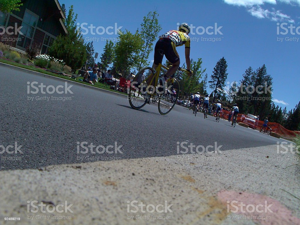 Biker from curb royalty-free stock photo