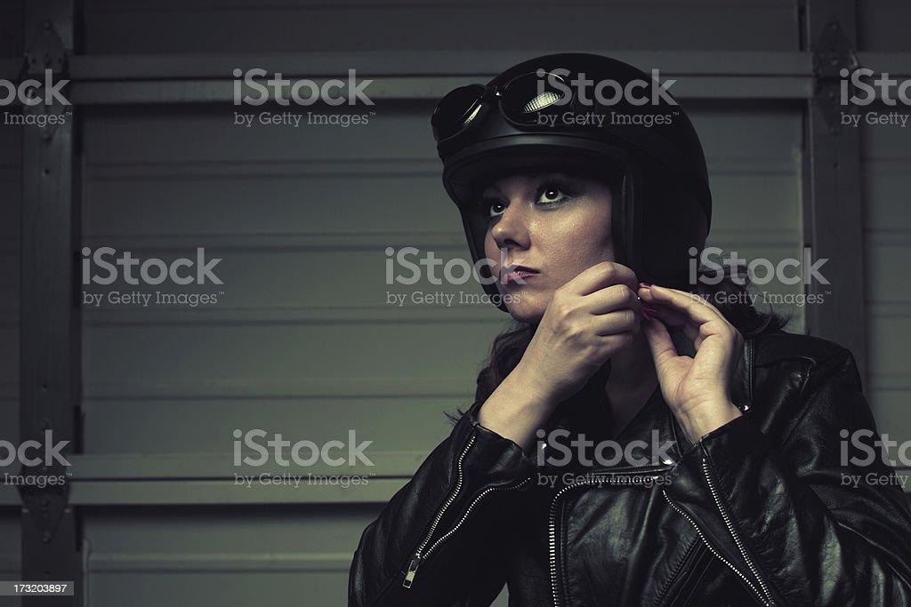 biker gearing up stock photo