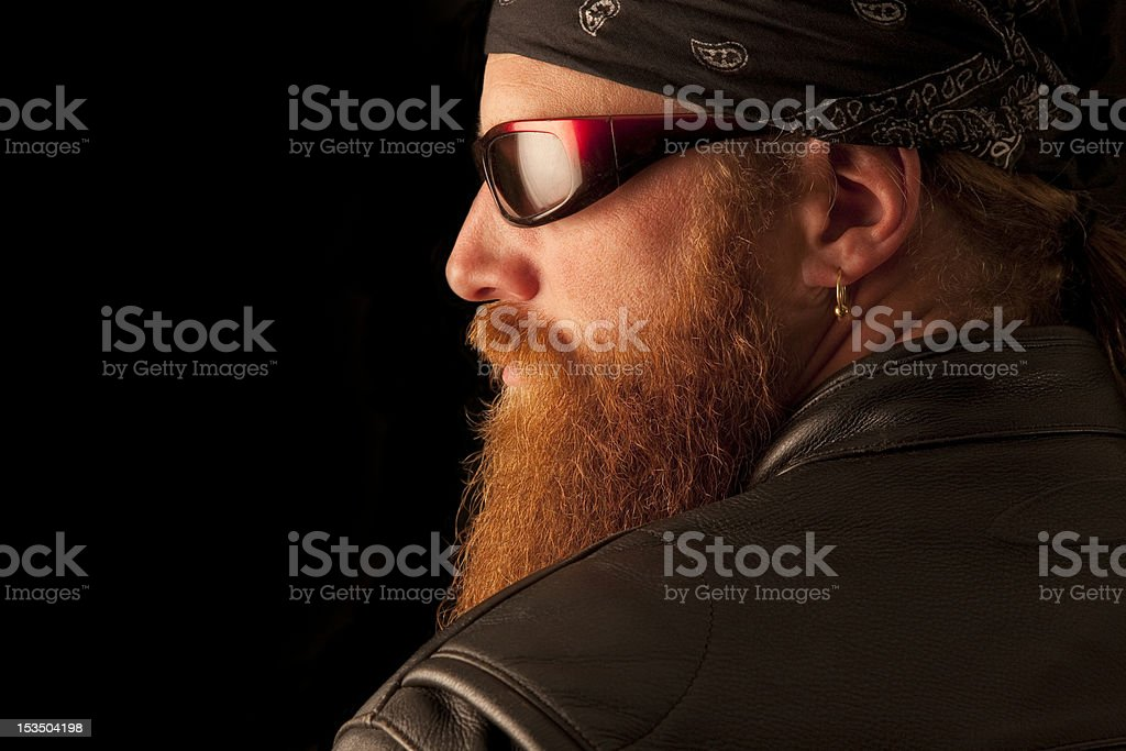 Biker in Black stock photo