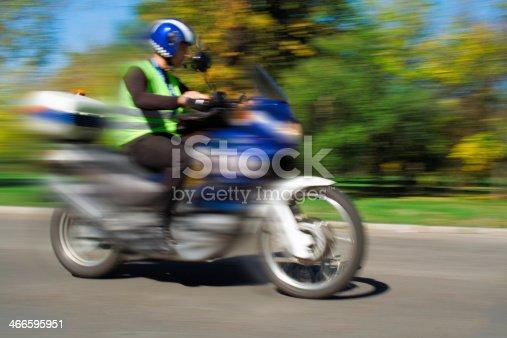 istock Biker in Blurred Motion 466595951