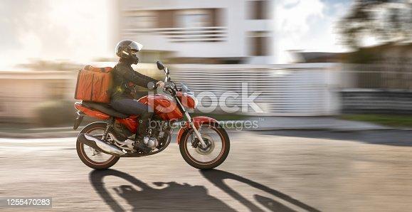 Biker in motion.