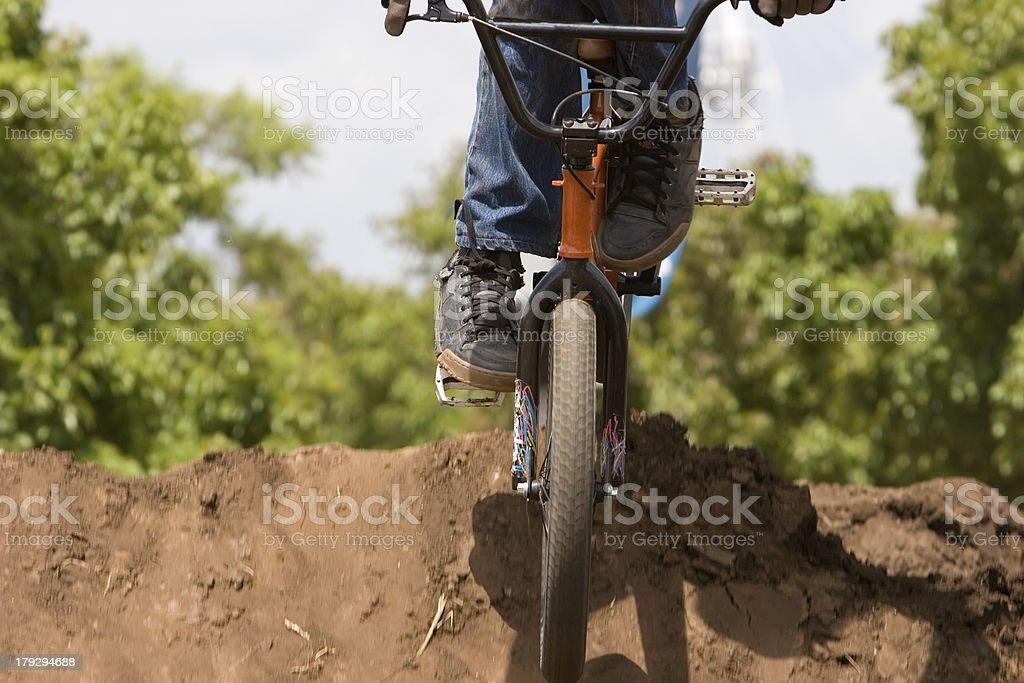BMX Biker landing stock photo