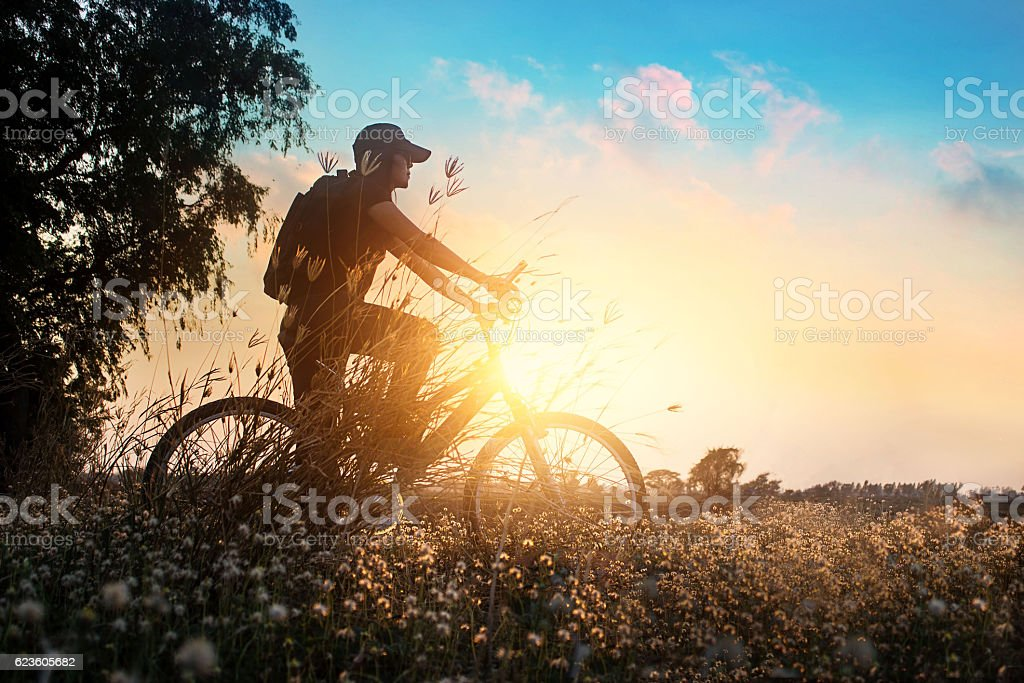 Biker on mountain bike adventure in beautiful flowers nature stock photo