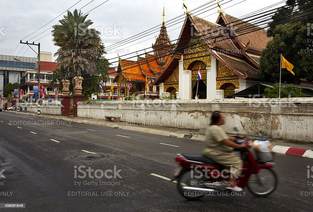 Biker on road royalty-free stock photo