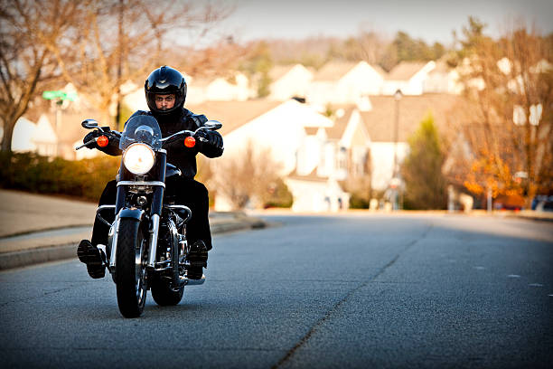 biker out for a ride - motorcycle stock photos and pictures