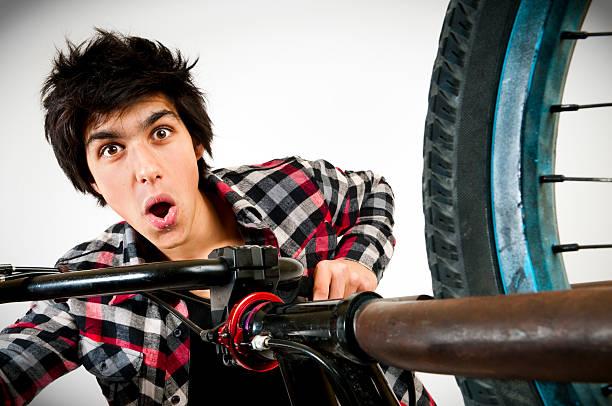 BMX biker portrait stock photo