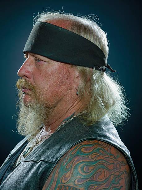 biker-profil - alte tattoos stock-fotos und bilder