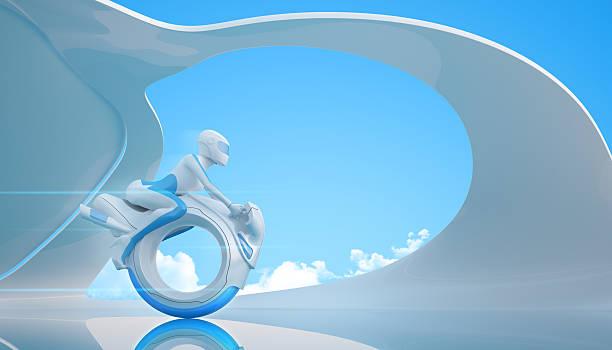 Biker riding futuristic mono wheel bike stock photo