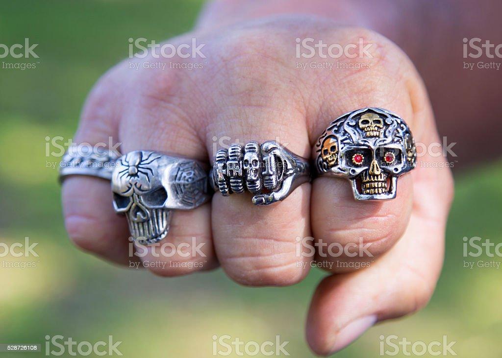 Biker rings stock photo