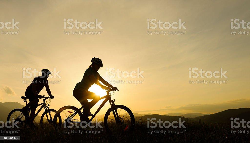 biker silhouettes royalty-free stock photo