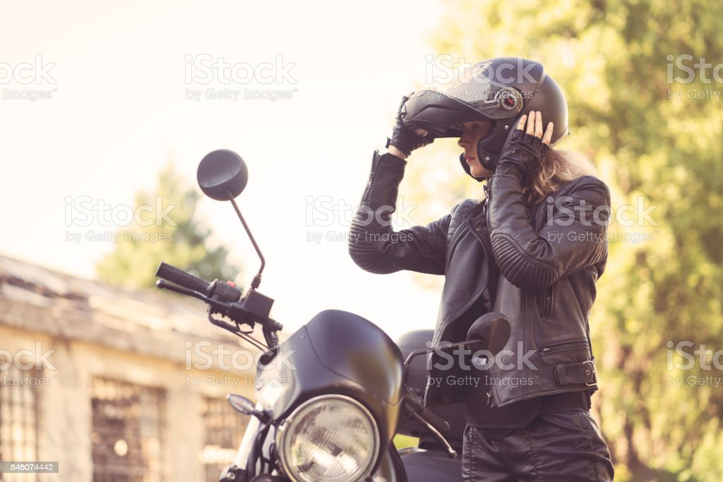 Biker woman stock photo