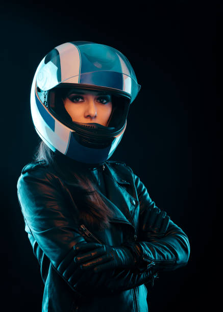 biker woman with helmet and leather outfit portrait - helmet visor stock photos and pictures