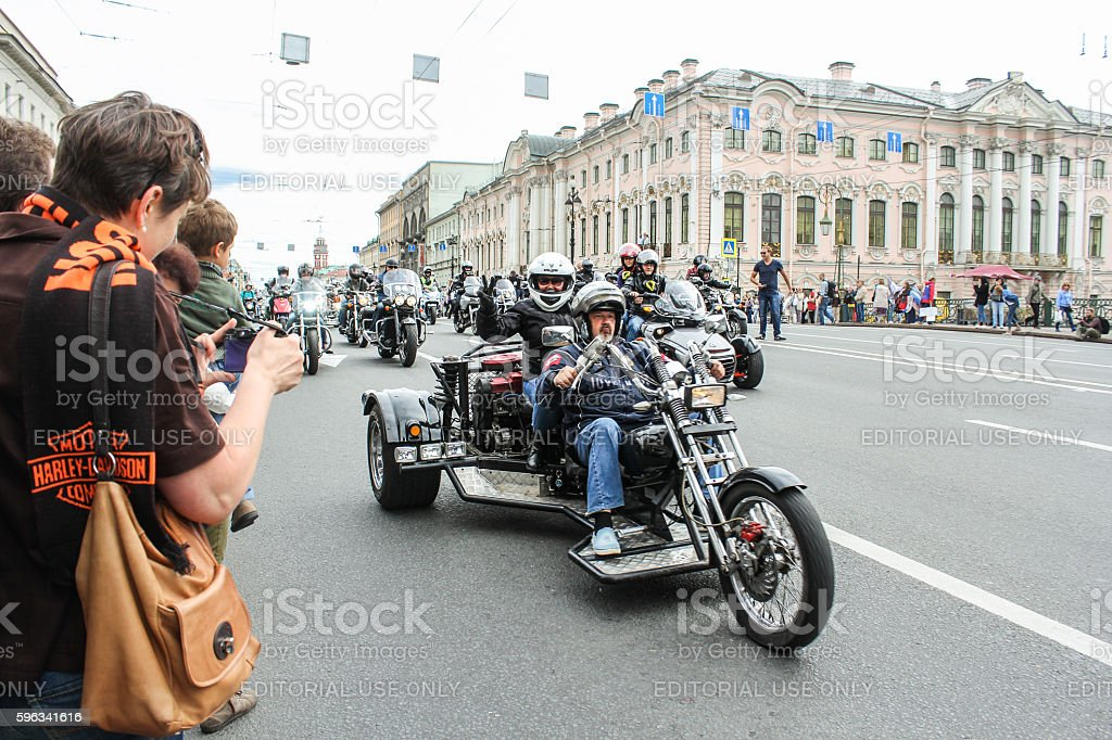 Bikers aged tricycle. royalty-free stock photo